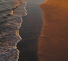 Wave and Sand Pattern at Sunset by Randy Mendelsohn