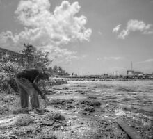 Fishing at Fort Montagu in Nassau, The Bahamas by 242Digital