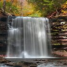 Harrison Wright Waterfall In Early Autumn by Gene Walls