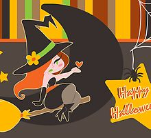 """Happy Halloween"" Cute Redhaired Witch by SaradaBoru"