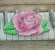pink rose on piano by thuraya o
