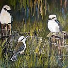 Kookaburras in the bush by Audrey  Russill