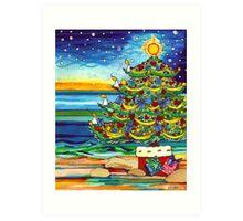 Christmas tree With Stars and Beach Art Print