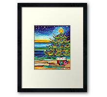 Christmas tree With Stars and Beach Framed Print