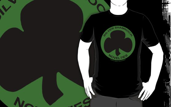 Silver Shamrock Novelties (SSN) Shirt - Black Shamrock Variant by TeeHut