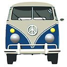 retro blue van of peace illustration by nadil