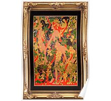 Goddess of The Hunt In Ornate Gold Border Poster