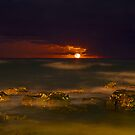 Full  moon over Warriewood beach by Doug Cliff
