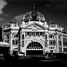 Flinders St Station - Black & White by axemangraphics