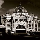 Flinders St Station - Sepia by axemangraphics
