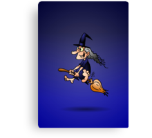 Witch on a broom Canvas Print