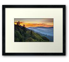 Great Smoky Mountains National Park - Morning Haze at Oconaluftee Framed Print