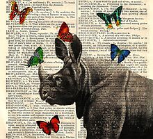 Antique Dictionary Rhinoceros Butterfly Print by Gidget26