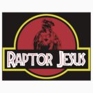 Raptor Jesus Jurassic Park Mashup - sticker by portispolitics