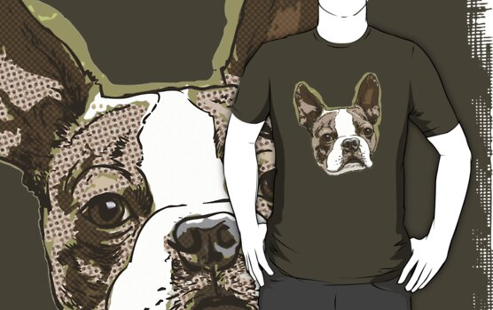 Boston Terrier Head by MudgeStudios