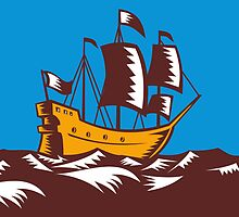Tall Sailing Ship Retro Woodcut by patrimonio