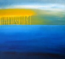 Liquid Sunshine: Abstract Seascape Painting by GillianSarah