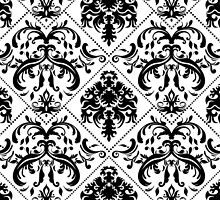 Classy Black and White Damask by avdesigns