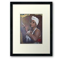 Cuban lady smoking a cigar Framed Print
