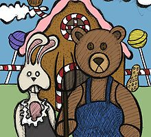 Teddy Bear And Bunny - Abearican Gothic by Brett Gilbert