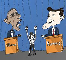 Obama Romney debate caricature by Binary-Options