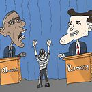 Obama et Romney débat en caricature by Binary-Options