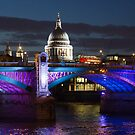 Southwark bridge and St Pauls Cathedral by Phil  Hatcher