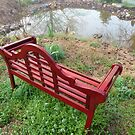 English Bench by the Pond by JeffeeArt4u