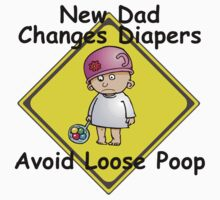 """Funny New Dad """"New Dad Changes Diapers Avoid..."""" by FamilyT-Shirts"""