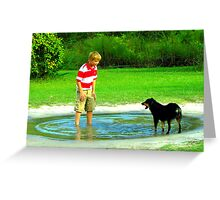 zack and the dog in a puddle Greeting Card