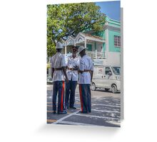 Police Officers on Bay Street in Downtown Nassau, The Bahamas Greeting Card