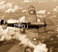 Battle of Britain Spitfire sepia version by Gary Eason + Flight Artworks