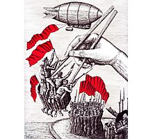 Revolutionary Sushi surreal pen ink and pencil drawing Photographic Print