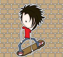Skateboarder Teenage Boy Cartoon by ArtformDesigns