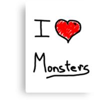 i love halloween monsters Canvas Print