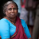 Woman With Red Bindi by Leslie  Hagen