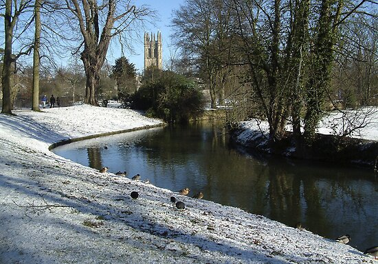 River Cherwell with Magdalen College Tower. by Mike Lester