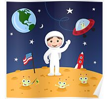 Friends in space cute cartoon wall art with boy astronaut and friendly aliens Poster