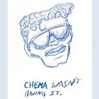 Chema Wasn&#x27;t Having It blue sunglasses illustration by Vicki Bower by Vicki Bower
