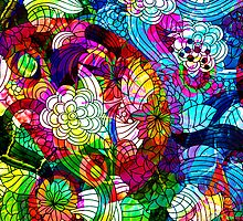 Colorful Vintage Romantic Floral Collage by artonwear