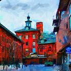 Red buildings in Toronto Distillery District by DiNovici