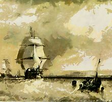 Traditional Sailing Ships off North Foreland circa 1834 by Dennis Melling