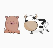 Cute Pig and Cow by AntsArt