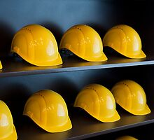 Yellow hard hats by Michael Brewer