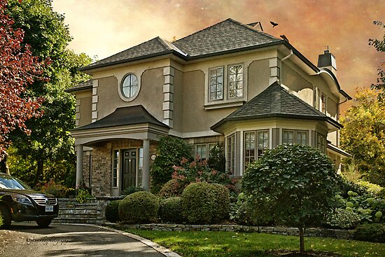Stucco House in Autumn by Yannik Hay