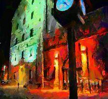 Toronto Distillery at night by DiNovici