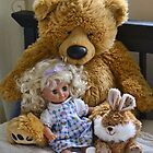 Big Ted  Welcomes Two New Friends With A Hug by lynn carter
