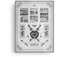 Legend of Zelda Hylian Shield Geek Line Artly Metal Print