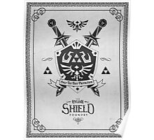 Legend of Zelda Hylian Shield Geek Line Artly  Poster