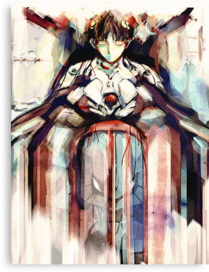 Shinji Evangelion Anime Tra Digital Painting  by barrettbiggers
